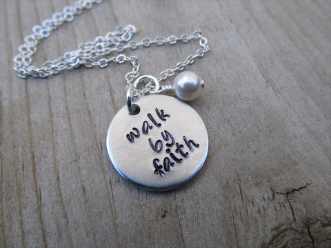 "Walk By Faith Inspiration Necklace- ""walk by faith""  - Hand-Stamped Necklace with an accent bead in your choice of colors"