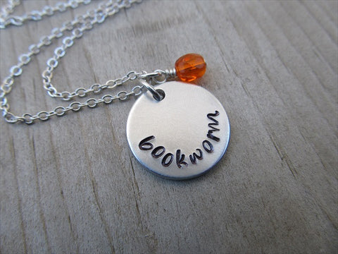 "Bookworm Inspiration Necklace- ""bookworm""- Hand-Stamped Necklace with an accent bead in your choice of colors"
