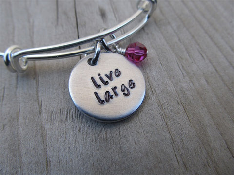 "Live Large Inspiration Bracelet- ""live large""  - Hand-Stamped Bracelet-Adjustable Bracelet with an accent bead of your choice"