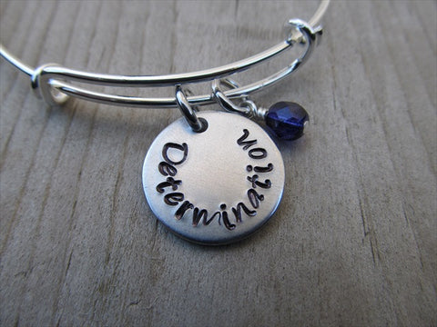 "Determination Inspiration Bracelet- ""Determination""  - Hand-Stamped Bracelet  -Adjustable Bangle Bracelet with an accent bead of your choice"
