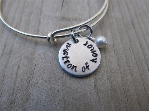 "Matron of Honor Bracelet- ""matron of honor""  - Hand-Stamped Bracelet  -Adjustable Bangle Bracelet with an accent bead of your choice"