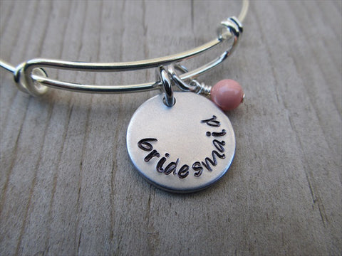 "Bridesmaid Bracelet- ""bridesmaid""  - Hand-Stamped Bracelet  -Adjustable Bangle Bracelet with an accent bead of your choice"