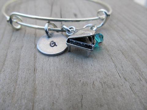 Piano Charm Bracelet -Adjustable Bangle Bracelet with an Initial Charm and Accent Bead of your choice