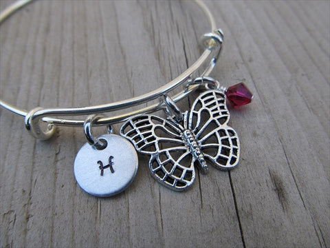 Butterfly Charm Bracelet -Adjustable Bangle Bracelet with an Initial Charm and Accent Bead of your choice