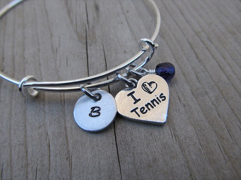 Tennis Charm Bracelet -Adjustable Bangle Bracelet with an Initial Charm and Accent Bead of your choice