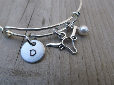 Bull Head Charm Bracelet -Adjustable Bangle Bracelet with an Initial Charm and Accent Bead of your choice