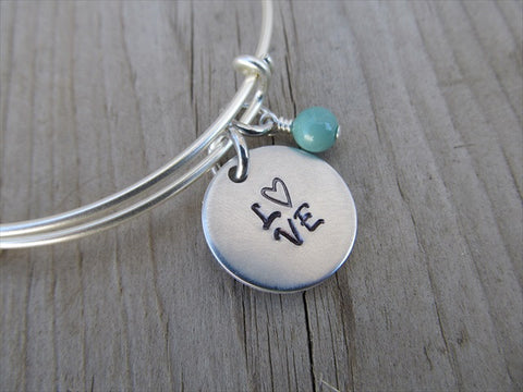 "Love Inspiration Bracelet- ""L♥VE""  - Hand-Stamped Bracelet  -Adjustable Bangle Bracelet with an accent bead of your choice"
