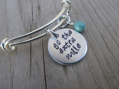 "Go The Extra Mile Inspiration Bracelet- ""go the extra mile""  - Hand-Stamped Bracelet  -Adjustable Bangle Bracelet with an accent bead of your choice"