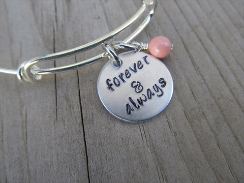"Forever & Always Bracelet- ""forever & always"" - Hand-Stamped Bracelet  -Adjustable Bangle Bracelet with an accent bead of your choice"