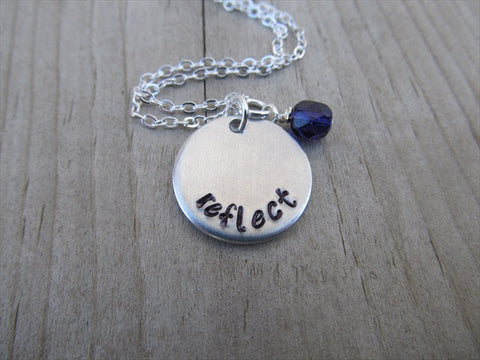 "Reflect Inspiration Necklace- ""reflect"" - Hand-Stamped Necklace with an accent bead in your choice of colors"