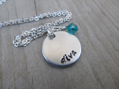 "Diva Inspiration Necklace- ""diva"" - Hand-Stamped Necklace with an accent bead in your choice of colors"