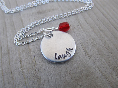 "Laugh Inspiration Necklace- ""laugh"" - Hand-Stamped Necklace with an accent bead in your choice of colors"