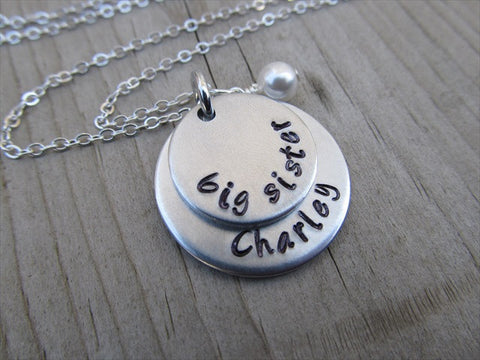 "Personalized Big Sister Necklace- hand-stamped ""big sister"" with a name of your choice and accent bead - Personalized Gift"