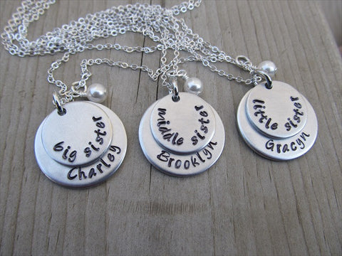 Personalized sister set sister keychains sister necklaces big middle little sister custom monogrammed set engraved personalized sister gift