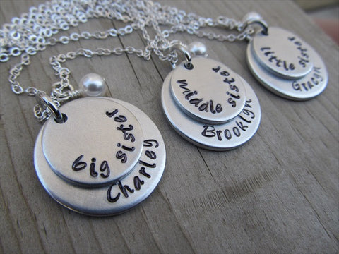 "Personalized set of 3 Sisters Necklaces- 3 Necklace Set- ""big sister"", ""middle sister"", ""little sister"" each with a name disc and a pearl"