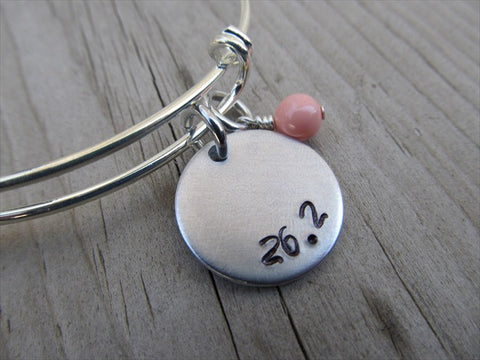 "Marathon Inspiration Bracelet- ""26.2""  - Hand-Stamped Bracelet  -Adjustable Bangle Bracelet with an accent bead of your choice"
