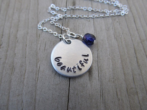 "Beautiful Inspiration Necklace- ""beautiful""- Hand-Stamped Necklace with an accent bead in your choice of colors"