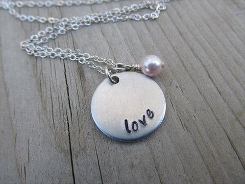 "Love Inspiration Necklace- ""love""- Hand-Stamped Necklace with an accent bead in your choice of colors"