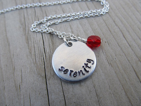 "Serenity Inspiration Necklace- ""serenity""- Hand-Stamped Necklace with an accent bead in your choice of colors"