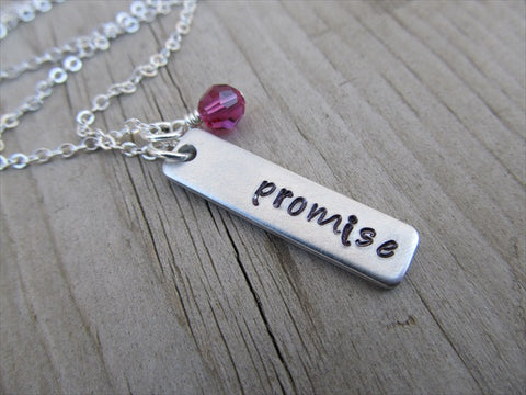 "Promise Inspiration Necklace ""promise""- Hand-Stamped Necklace with an accent bead in your choice"