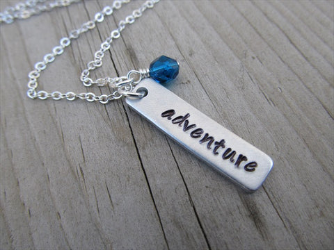 "Adventure Inspiration Necklace ""adventure""- Hand-Stamped Necklace with an accent bead in your choice"