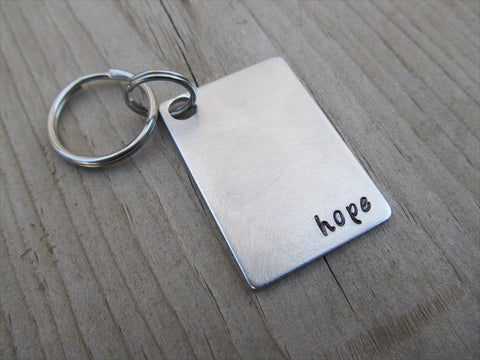 "Hope Inspirational Keychain- ""hope""  - Hand Stamped Metal Keychain"