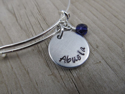 "Spanish Grandmother's Bracelet - ""Abuela""  - Hand-Stamped Bracelet- Adjustable Bangle Bracelet with an Accent Bead of your choice"