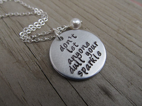 "Inspiration Necklace- ""don't let anyone dull your sparkle""  - Hand-Stamped Necklace with an accent bead in your choice of colors"