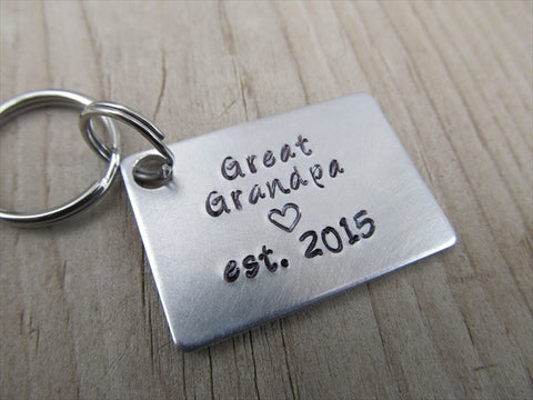 "Great Grandpa Keychain - ""Great Grandpa est. (year of choice)"" with a stamped heart- Hand Stamped Metal Keychain"