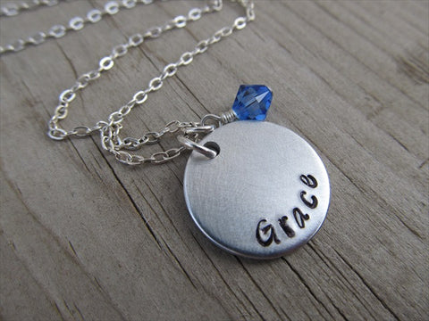 "Grace Inspiration Necklace- ""Grace"" - Hand-Stamped Necklace with an accent bead in your choice of colors"