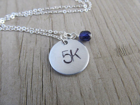"Marathon Necklace- ""5K"" - Hand-Stamped Necklace with an accent bead in your choice of colors"
