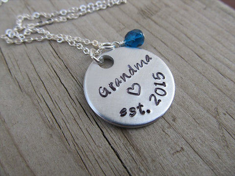 "Grandma Necklace- Hand-stamped ""Grandma est. (year of choice)"" with a stamped heart and an accent bead in your choice of colors"