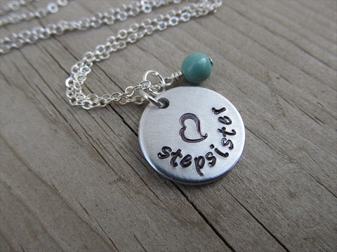 "Stepsister Necklace- ""stepsister"" with a stamped heart- Hand-Stamped Necklace with an accent bead in your choice of colors"