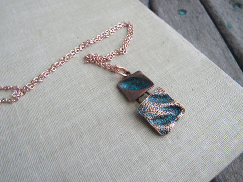 Copper and Teal Blue Necklace- Modern Necklace