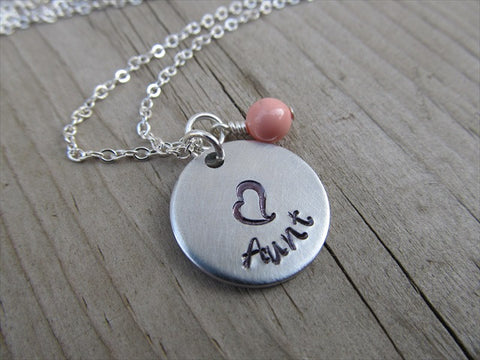 "Aunt Necklace- ""Aunt"" with a stamped heart- Hand-Stamped Necklace with an accent bead in your choice of colors"