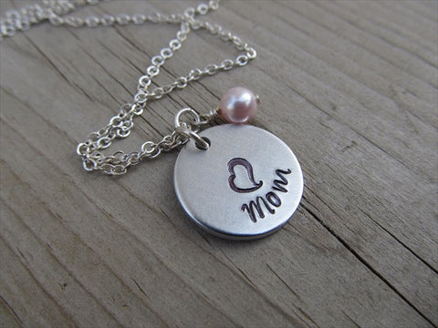 "Mother's Necklace- ""Mom"" with a stamped heart- Hand-Stamped Necklace with an accent bead in your choice of colors"