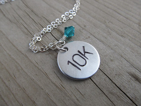 "Marathon Necklace- ""10K"" - Hand-Stamped Necklace with an accent bead in your choice of colors"
