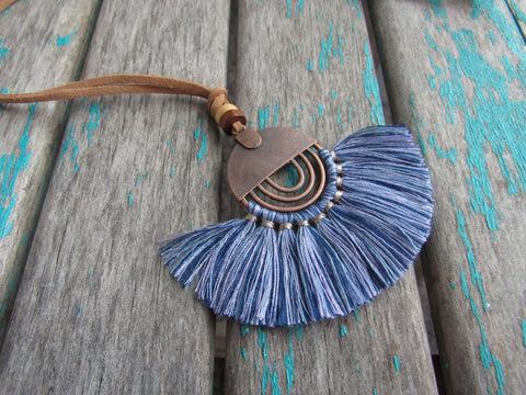 Fringe Necklace in Multi-Blues
