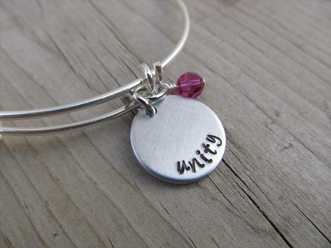 "Unity Inspiration Bracelet- ""unity""  - Hand-Stamped Bracelet  -Adjustable Bangle Bracelet with an accent bead of your choice"