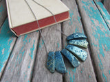 Rustic Dusty Blue Stone Necklace- Statement Necklace in Blues -READY to SHIP