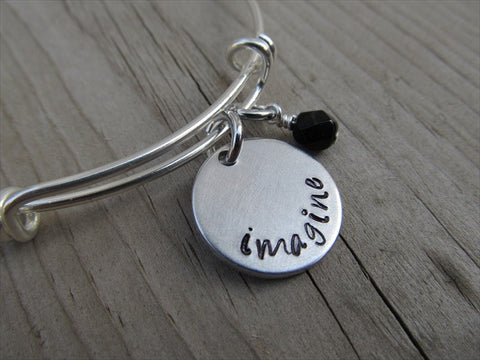 "Imagine Inspiration Bracelet- ""imagine""  - Hand-Stamped Bracelet  -Adjustable Bangle Bracelet with an accent bead of your choice"