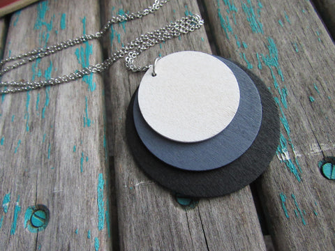 Circles Necklace in Black, Grey, and White