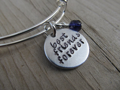 "Friendship Bracelet- ""best friends forever"" - Hand-Stamped Bracelet- Adjustable Bangle Bracelet with an accent bead of your choice"