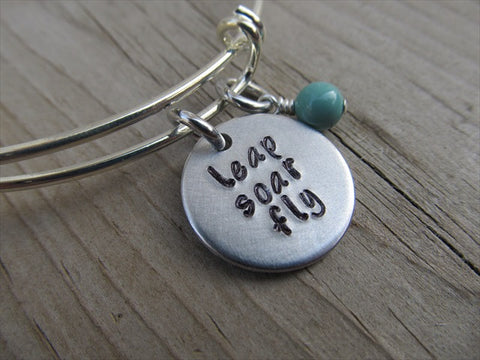 "Leap Soar Fly Bracelet- ""leap soar fly""  - Hand-Stamped Bracelet-Adjustable Bracelet with an accent bead of your choice- Graduation Gift"
