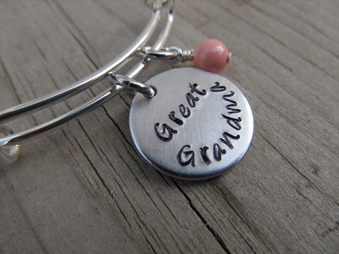 "Great Grandma Bracelet- ""Great Grandma""  - Hand-Stamped Bracelet-Adjustable Bracelet with an accent bead of your choice"