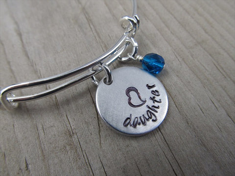 "Daughter Bracelet- Gift for Daughter- Hand-Stamped Bracelet- ""daughter"" with stamped heart - Hand-Stamped Bracelet- Adjustable Bangle Bracelet with an accent bead of your choice"