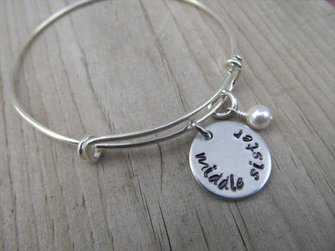 "Middle Sister Bracelet - hand-stamped ""middle sister"" Bracelet- Hand-Stamped Bracelet  -Adjustable Bangle Bracelet with an accent bead of your choice"