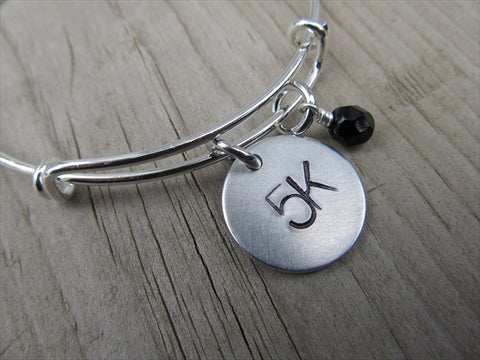 "5K Marathon Bracelet- hand-stamped ""5K""   - Hand-Stamped Bracelet- Adjustable Bangle Bracelet with an accent bead of your choice"