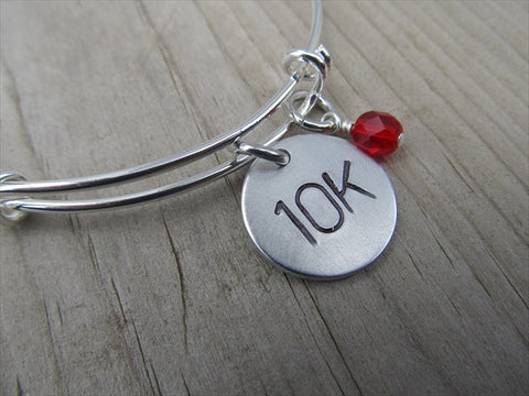 "10K Marathon Bracelet- hand-stamped ""10K""   - Hand-Stamped Bracelet- Adjustable Bangle Bracelet with an accent bead of your choice"