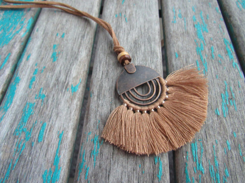 Fringe Necklace in Tan